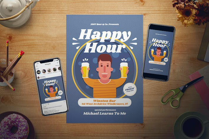 Thumbnail for Happy Hour Flyer Set
