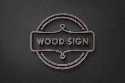 Dark Wood Sign Logo Mockup
