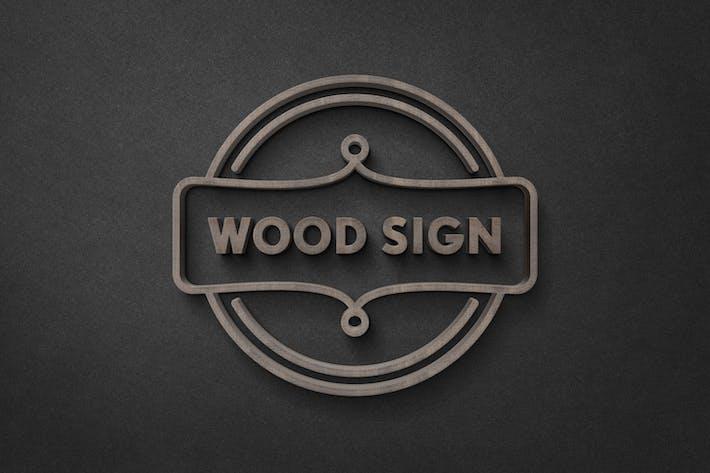 Thumbnail for Макет логотипа с логотипом из темного дерева