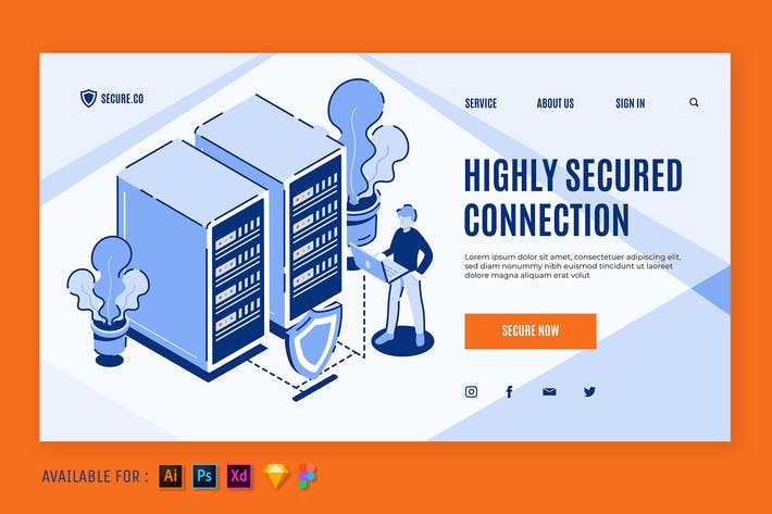 Thumbnail for Secured Connectivity - Isometric Web Illustration