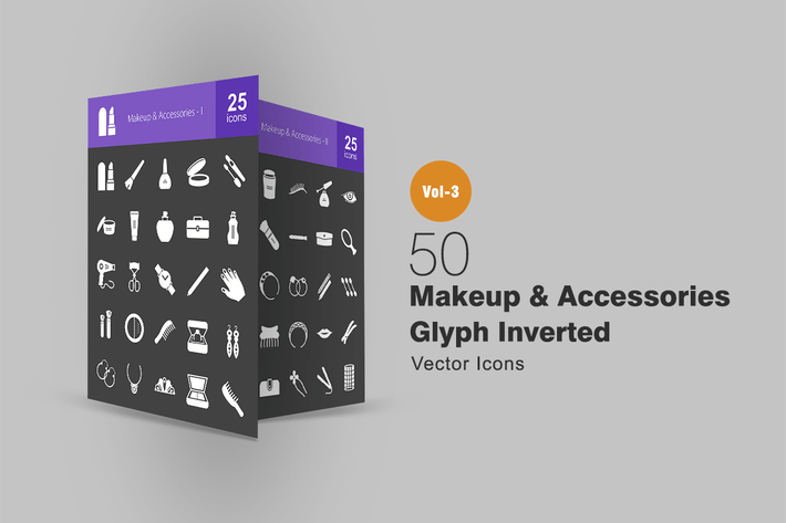 Thumbnail for 50 Makeup & Accessories Glyph Inverted Icons