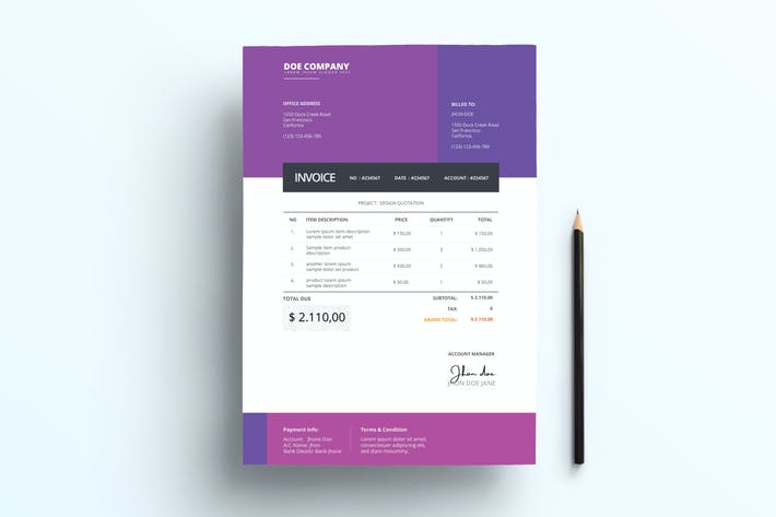 Thumbnail for Invoice Business with Purple Accents