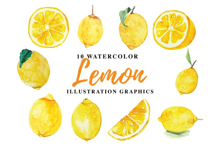 Thumbnail for 10 Aquarell Zitrone Illustration Grafiken
