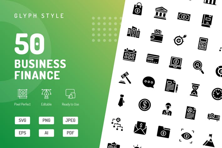 Thumbnail for Business Finance Glyph Icons