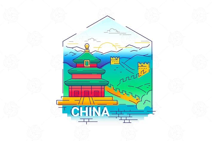 Cover Image For China - modern vector line travel illustration