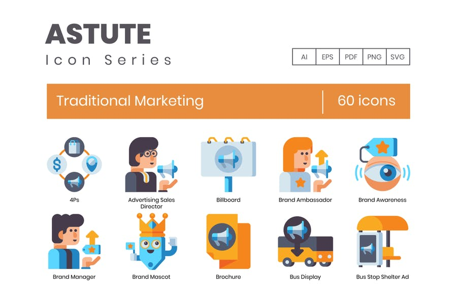 60 traditionelle Marketing-Flache Icons