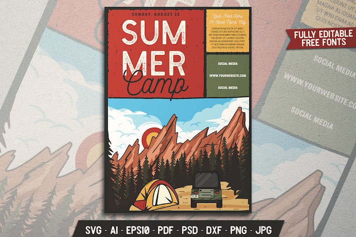 Adventure Camp Vintage Flyer