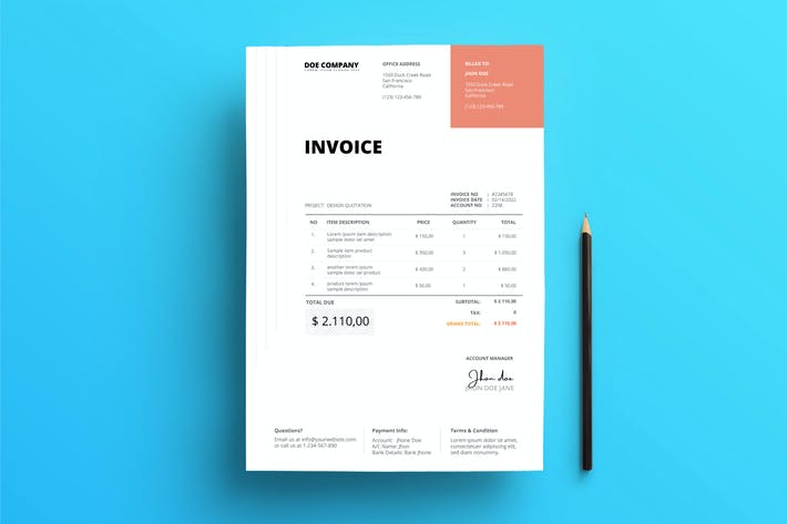 Cover Image For Invoice Business with red square on top and lines