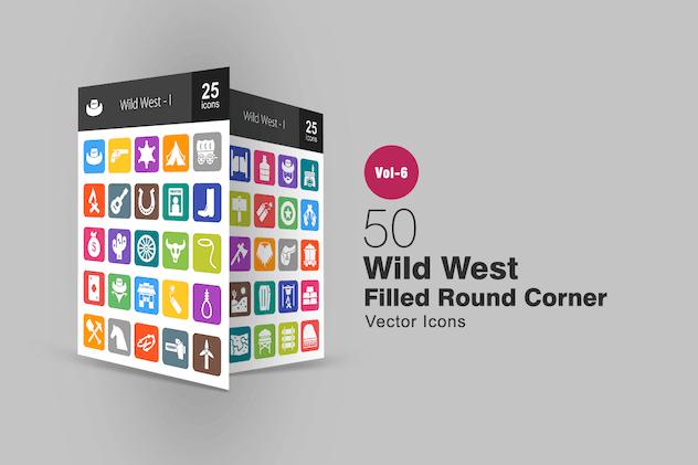 50 Wild West Filled Round Corner Icons