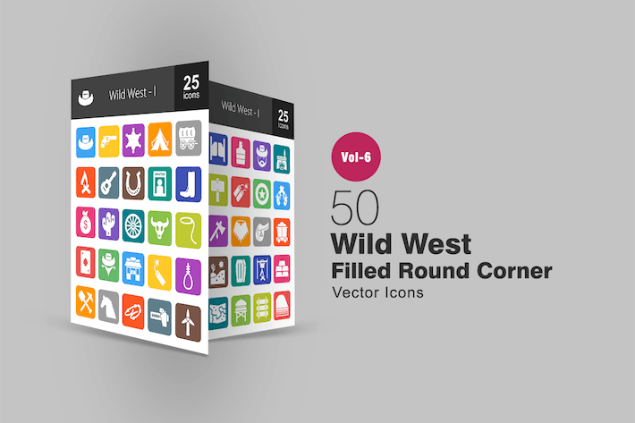 Thumbnail for 50 Wild West Filled Round Corner Icons