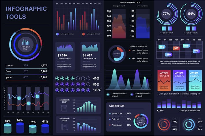 Thumbnail for Dark Infographics Template Pack