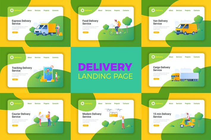 Thumbnail for Delivery Flat style Landing Page
