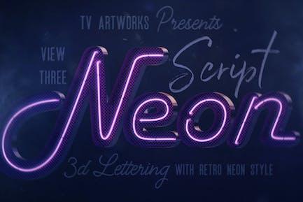 Script Neon 3D Lettering View 3