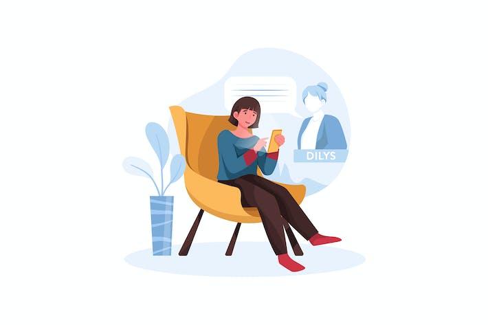 Frau Silhouette mit Handy für Kontakte