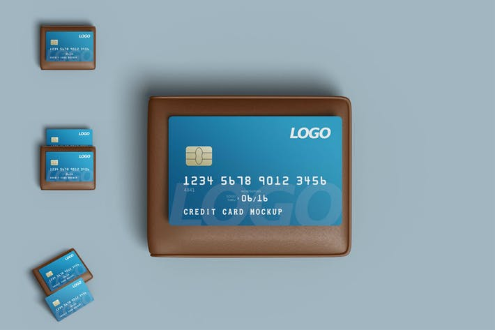 Thumbnail for Credit card mockup with wallet