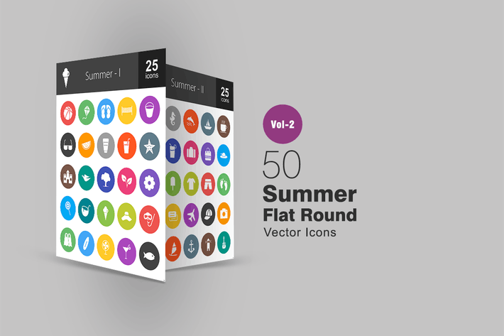 Thumbnail for 50 Summer Flat Round Icons