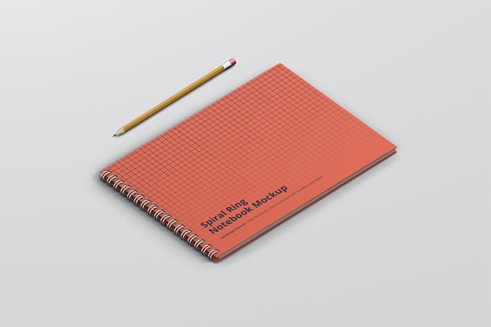 Spiral Ring Notebook Mockup Landscape Format