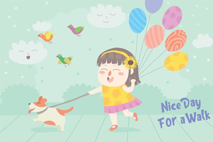 Thumbnail for Girl Walks Dog - Vector Illustration
