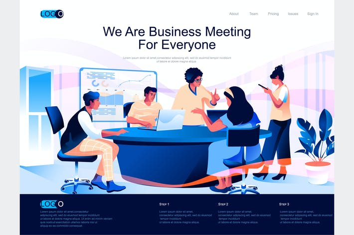 Thumbnail for Business Meeting Isometric Landing Page Template
