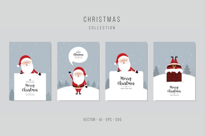 Thumbnail for Christmas Santa Claus Vector Card Set. vol.4