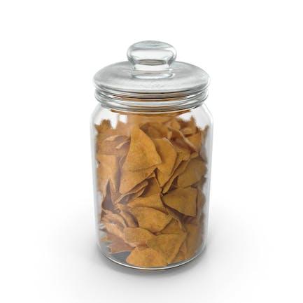 Jar with Corn Tortilla Nacho Chips