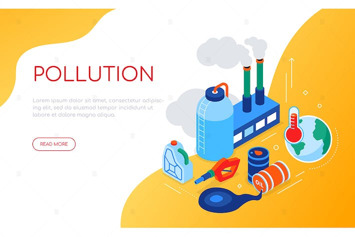 Thumbnail for Pollution concept - colorful isometric web banner