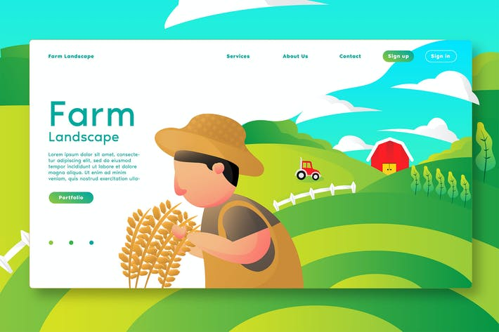 Thumbnail for Farm Lanscape - Web Header & Vector Template G