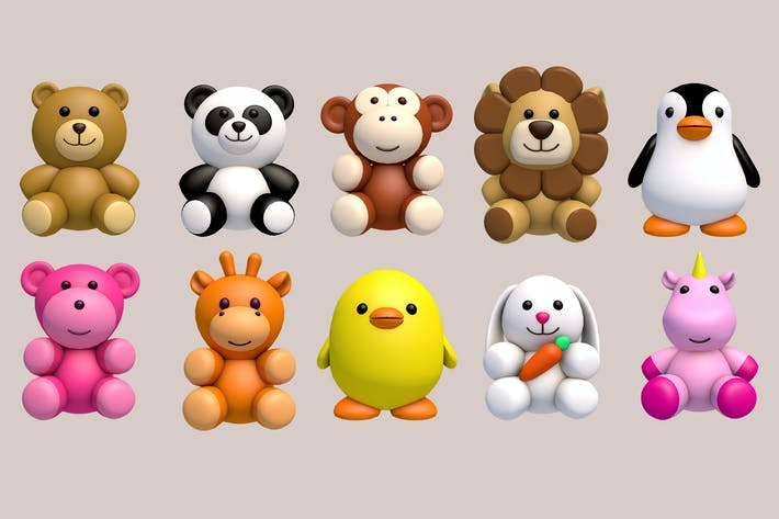 Thumbnail for Plush Animal Toys Pack (Pack of 10)