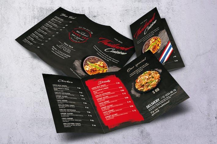 Thumbnail for Thai Cuisine Trifold A4 & US Letter Food Menu
