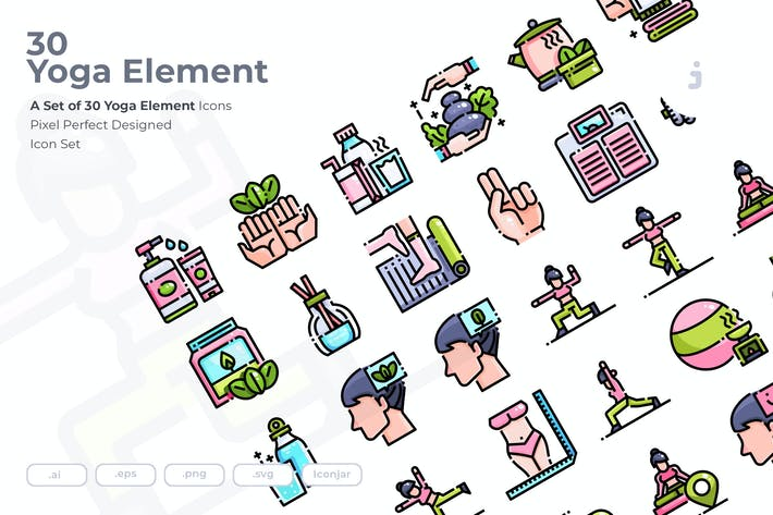Thumbnail for 30 Yoga Element Icons