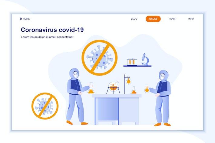 Thumbnail for Coronavirus Covid-19 Landing Page Flat Concept
