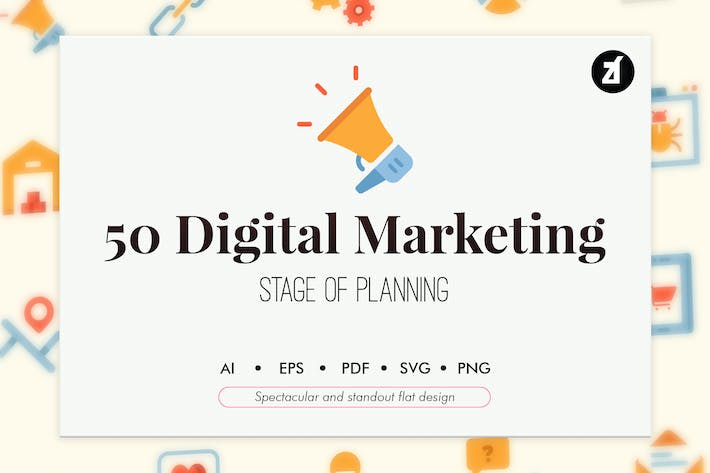 Thumbnail for 50 Digital Marketing elements in flat design