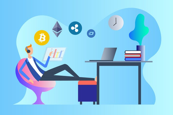 Thumbnail for Cryptocurrency Trader 2D Illustration