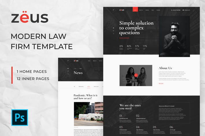 Zeus - Lawyers and Law Firm PSD Template