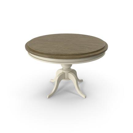 Круглый стол из дерева и белой краски