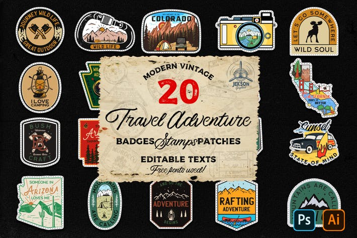 Thumbnail for 20 Camp Adventure Badges Vintage Travel Patch SVG