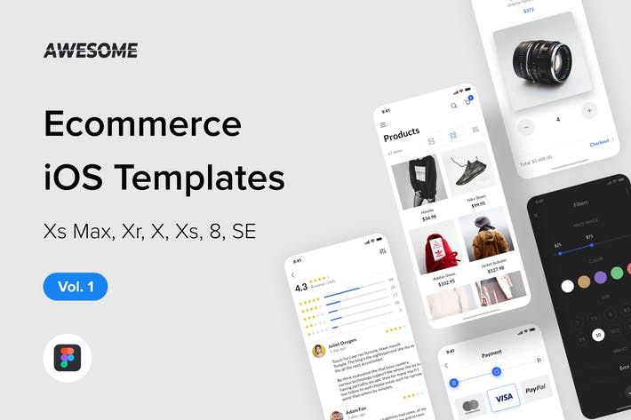 Thumbnail for Awesome iOS UI Kit - Ecommerce Vol. 1 (Figma)