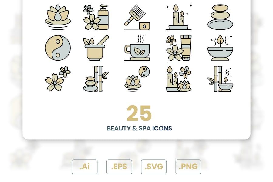 Schönheit und Spa-Icons -Set