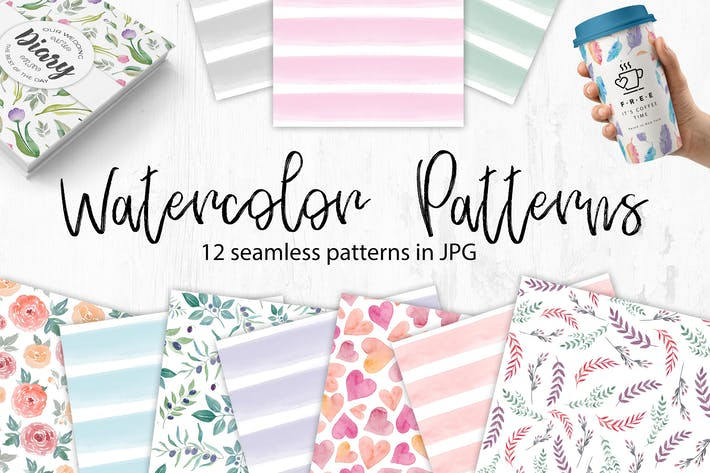 Thumbnail for Watercolor Seamless Patterns. Flowers and stripes