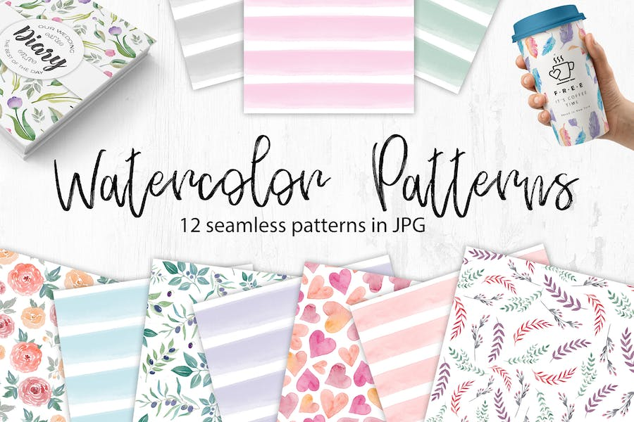 Watercolor Seamless Patterns. Flowers and stripes