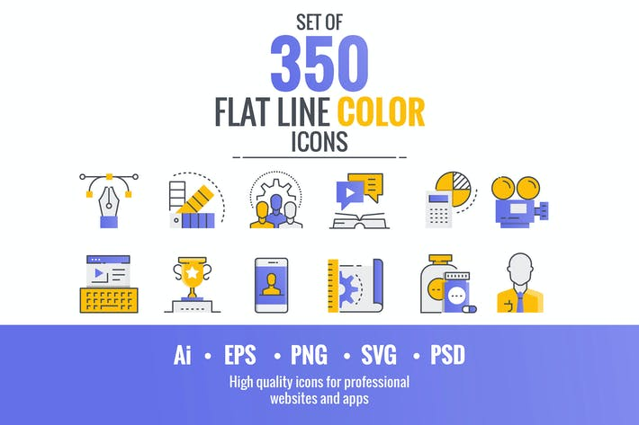 Thumbnail for Set of flat line smooth gradient color icons