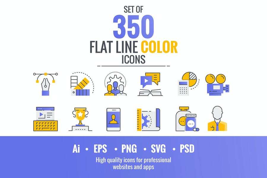 Set of flat line smooth gradient color icons