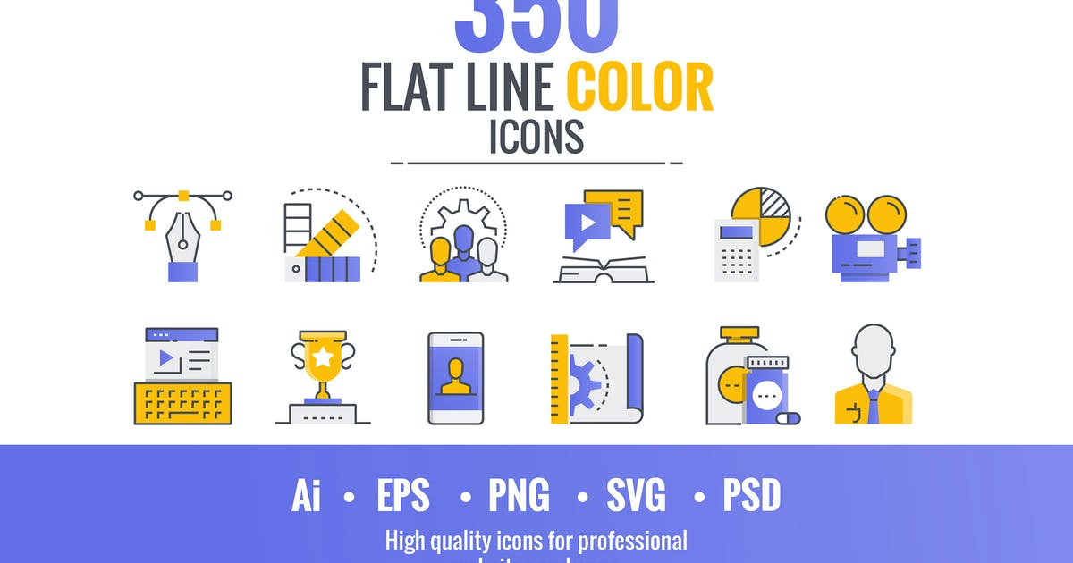 Download Set of flat line smooth gradient color icons by graphics4u