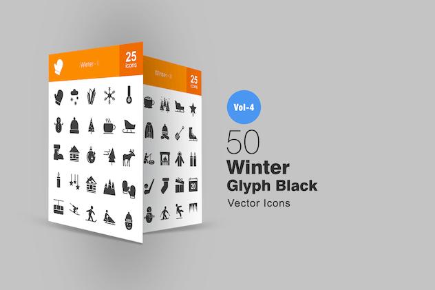 50 Winter Glyph Icons
