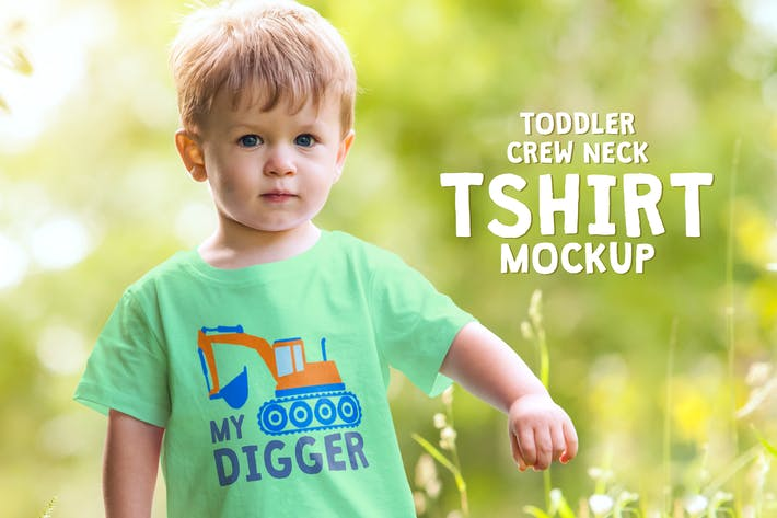 Thumbnail for Toddler Boy Crew Neck T-shirt Mock-up