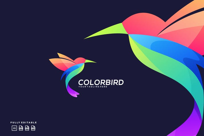 Thumbnail for Flying Hummingbird Colorful Logo Template