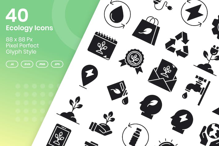 Thumbnail for 40 Ecology Icons Set - Glyph