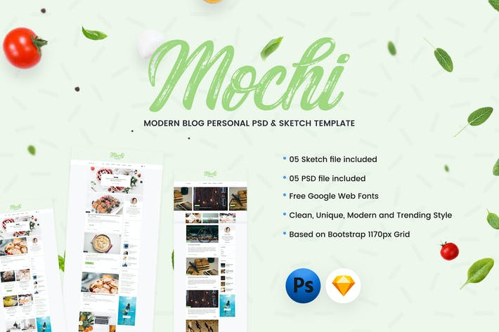 Thumbnail for Mochi - Personal Blog PSD & Sketch Template