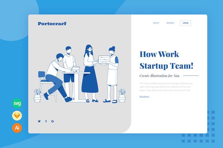 Team Work Website Header - Illustration