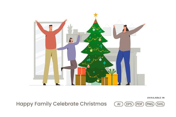 Thumbnail for Happy Family Celebrate Christmas
